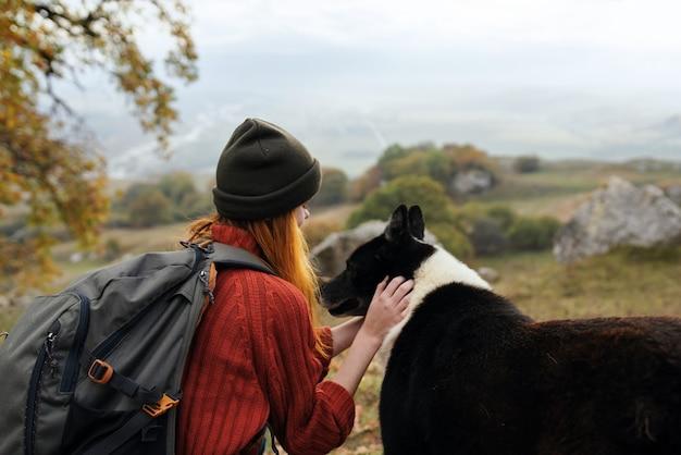 Frauentourist, der mit hund im freien spaßreisefreundschaft spielt