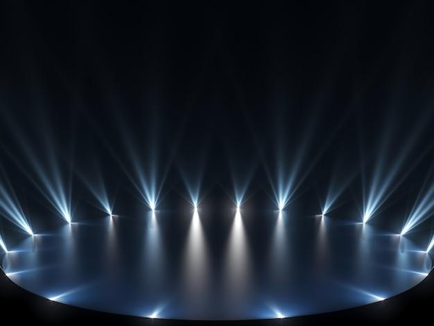 Freie bühne mit blauen lichtern und dunklem hintergrund