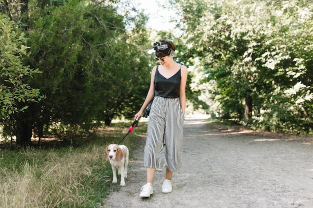 Freudige dame in den weißen turnschuhen, die mit beagle-hund im park an sonnigem tag gehen und gutes wetter genießen