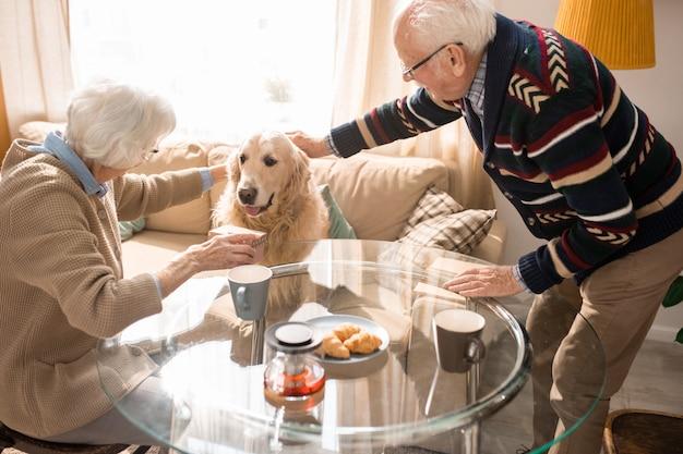 Freudiges älteres paar mit hund