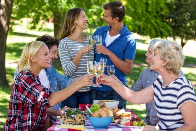 Freunde, die ein picknick mit wein haben
