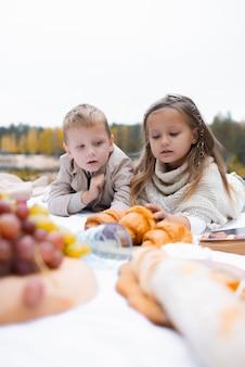Freunde, jungen und mädchen bei einem picknick im park
