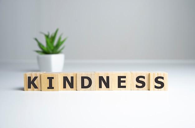 Freundlichkeitswort aus holzklötzen mit buchstaben