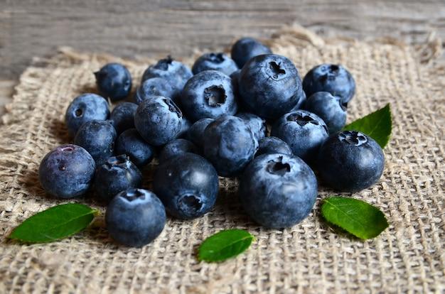 Frisch ausgewählte organische blaubeeren auf leinwandstoff