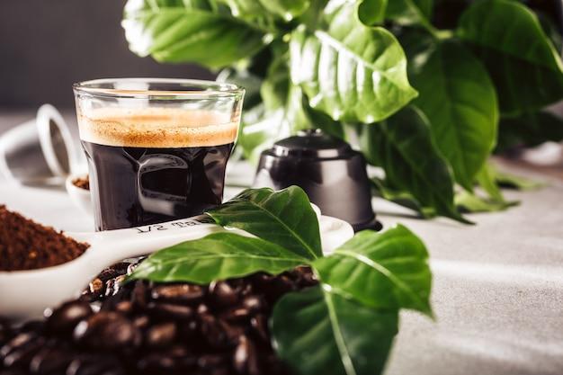 Frisch gebrühter kaffee in einer glasschale mit bohnen und blättern. lebensmitteloberfläche mit kopierraum