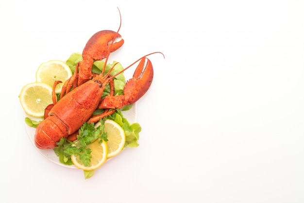 Frisch gekochter hummer mit gemüse und zitrone