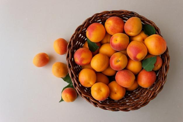 Frisch reife aprikosen in einem weidenkorb