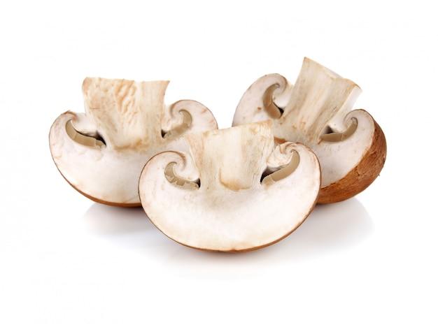 Frische champignonpilze getrennt auf weiß