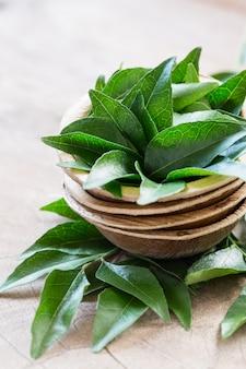 Frische curryblätter in der kokosnussschüssel