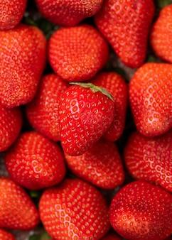 Frische erdbeere hautnah.