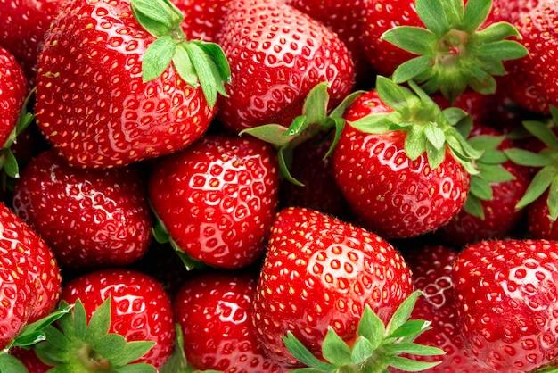 Frische erdbeeren nahaufnahme - draufsicht.