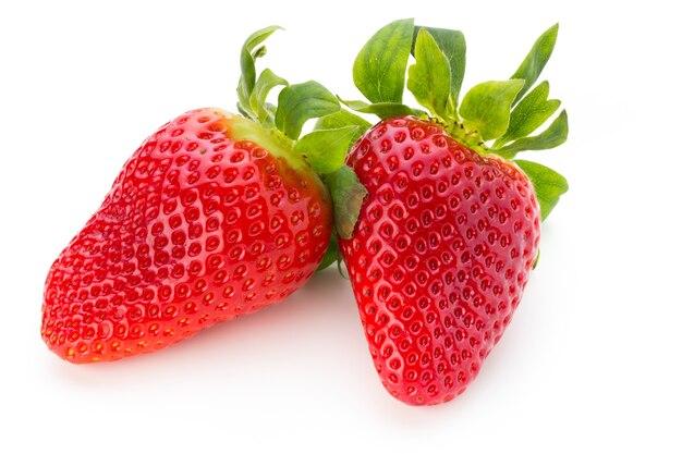 Frische erdbeeren schließen oben auf weiß