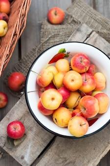 Frische ernteäpfel auf dem rustikalen holz