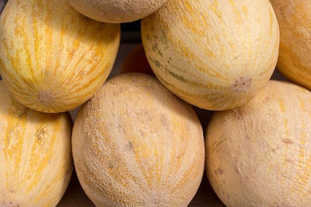 Frische gelbe melone abstrakte frucht bunt