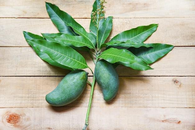 Frische grüne mango- und grünblätter auf holz
