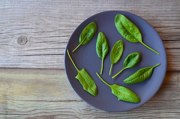 Frische grüne organische spinat-bündelblätter auf einem dunklen teller auf altem holztischhintergrund.