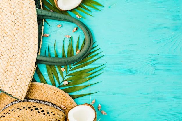 Frische grüne pflanze verlässt nahe handtasche und hut mit kokosnuss