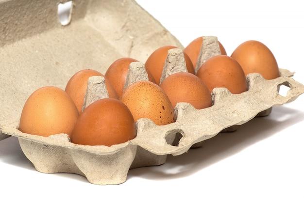 Frische hühnereier in einer packung lokalisiert auf weiß