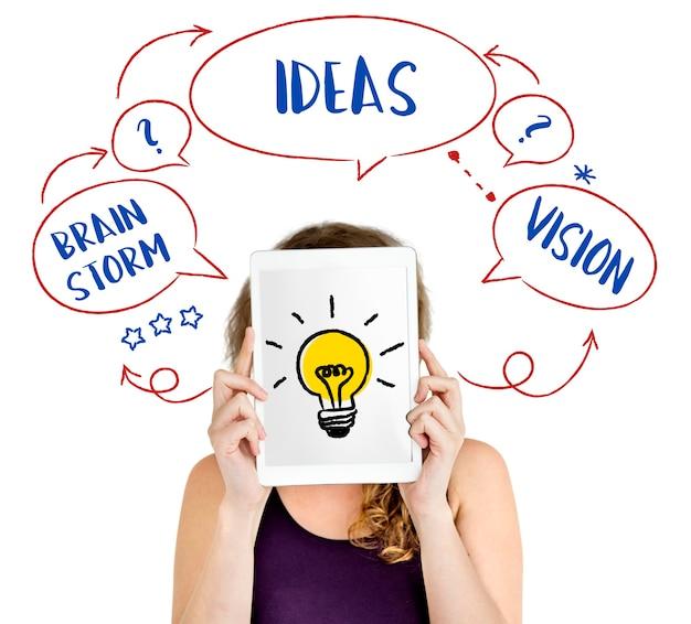 Frische ideen kreative innovation glühbirne