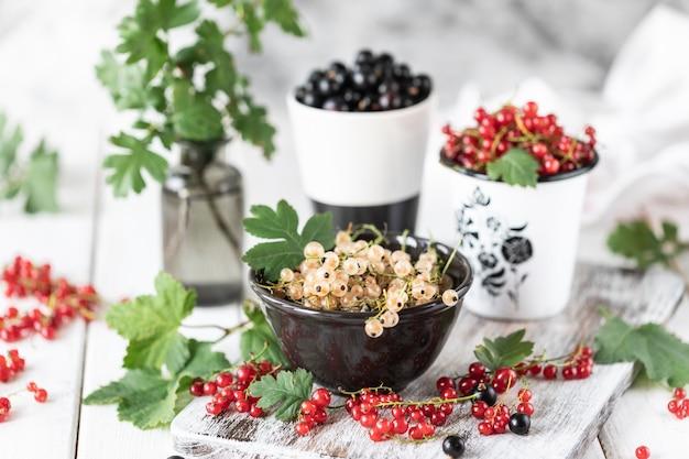 Frische johannisbeeren in einer keramikschale: schwarze johannisbeeren, rote johannisbeeren und weiße johannisbeeren