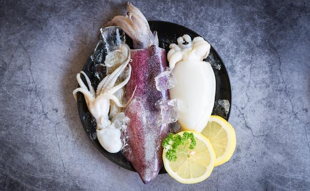Frische kalmarkrake oder kopffüßer für gekochtes essen am restaurant- oder meeresfrüchtemarkt - roher kalmar mit eis- und salatgewürzzitrone auf dem schwarzblechhintergrund