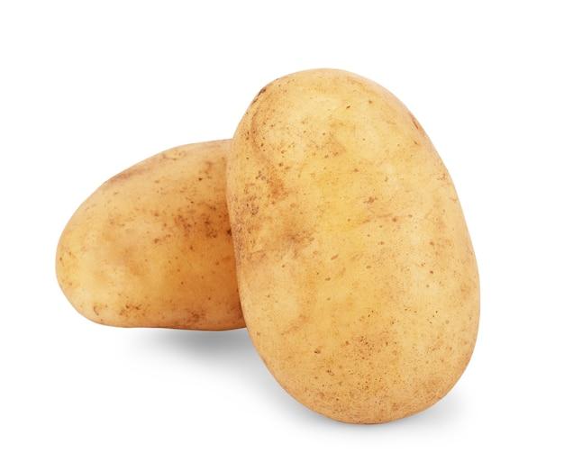 Frische kartoffel auf weißem hintergrund
