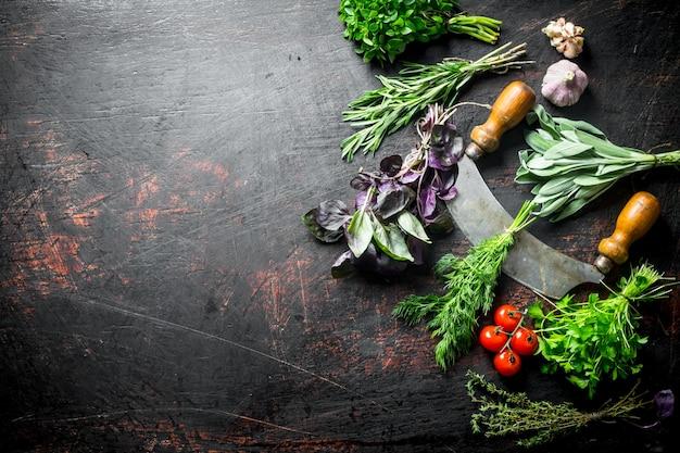 Frische kräuter aus dem hausgarten mit messer, tomaten und knoblauch auf dunklem holztisch