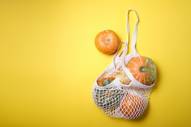 Frische kürbisse, pastetchenkürbis in umweltfreundlicher einkaufstasche