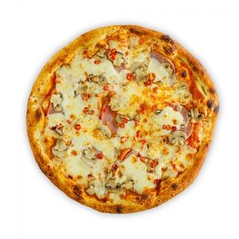 Frische leckere tomatenpizza lokalisiert auf weißer draufsicht