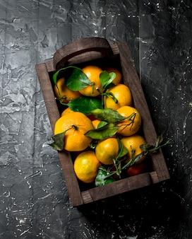 Frische mandarinen in der box. auf schwarzem rustikalem hintergrund