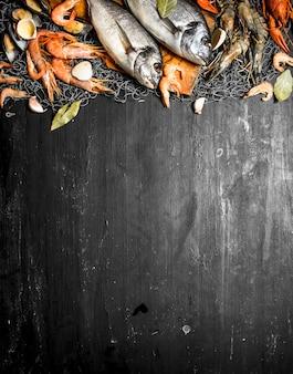 Frische meeresfrüchte. verschiedene meeresfrüchte mit gewürzen auf einem fischernetz. auf einer schwarzen tafel.