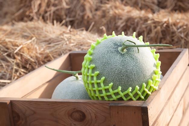 Frische melonen in der holzkiste auf stroh. gesundes obst