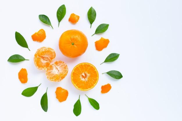 Frische orange zitrusfrucht mit blättern auf weiß
