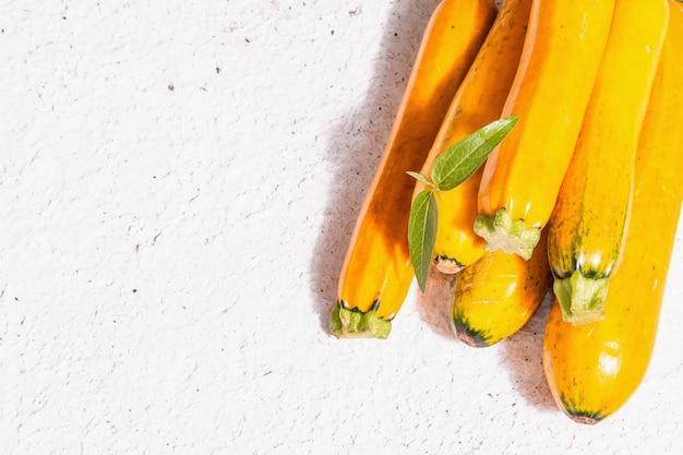 Frische orangefarbene zucchini. reifes gemüse ernten. trendiges hartes licht, dunkler schatten, weißer kitthintergrund, draufsicht