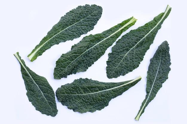 Frische organische grüne grünkohlblätter auf weiß