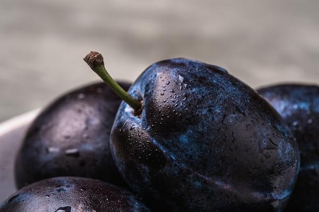 Frische reife pflaumenfrüchte mit wassertropfen auf steinbetonhintergrund, winkelansicht-makro