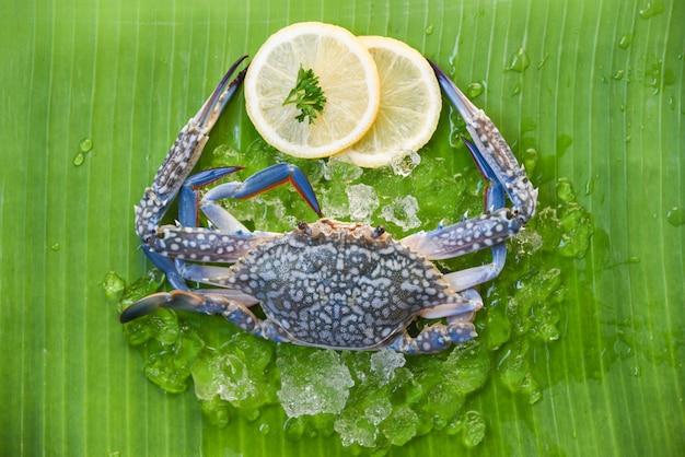 Frische rohe krabbenmeeresfrüchte mit eis und zitrone auf bananenblatt