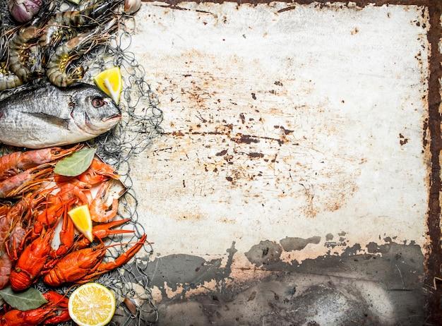 Frische rohe meeresfrüchte eine vielzahl von garnelen, fisch und schalentieren auf fischnetz auf rustikalem hintergrund