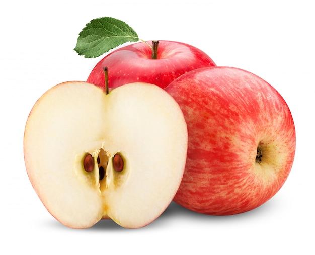 Frische rote äpfel lokalisiert auf weiß