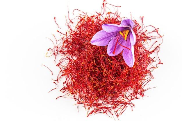 Frische safranblume auf einem hintergrund von getrocknetem safran auf einem tisch. platz für deinen text