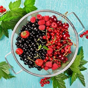 Frische sommerbeeren in einem korb. schwarze johannisbeere, rote johannisbeere, himbeere, kirsche und erdbeere