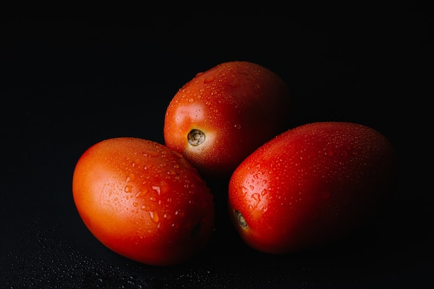 Frische tomate in der dunkelheit