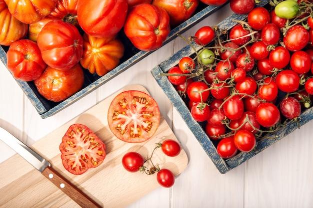 Frische tomaten in kisten