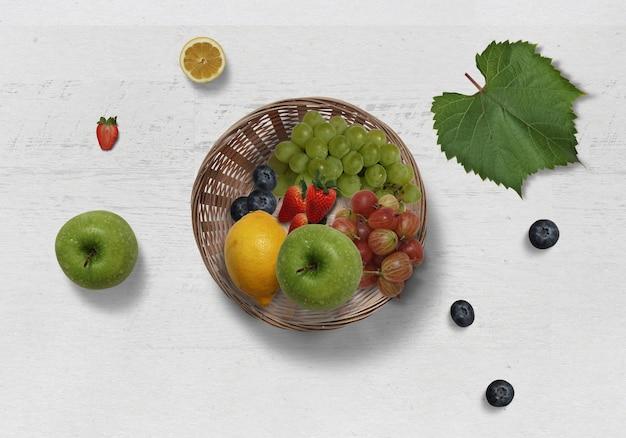 Frische verschiedene nahrungsfrüchte isoliert