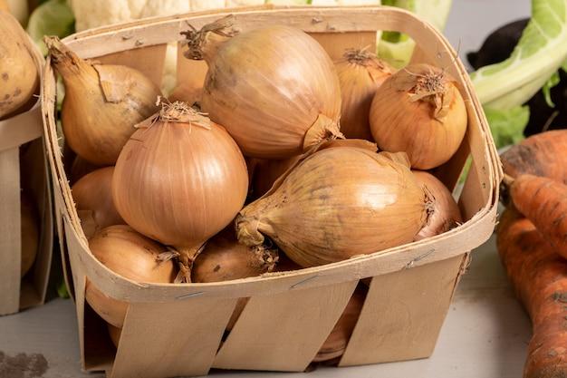 Frische zwiebeln, reife zwiebeln, zwiebeln im markt