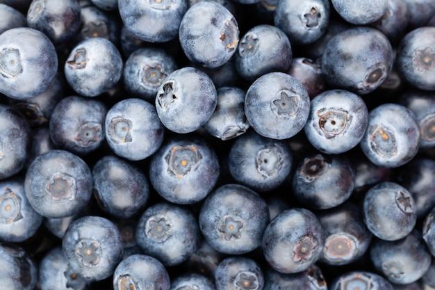 Frischer blaubeerhintergrund mit kopierraum für ihren text. randgestaltung. veganes und vegetarisches konzept. makrotextur von blaubeerbeeren. sommer gesundes essen. banner.