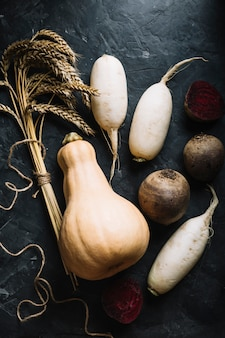 Frischer butternusskürbis umgeben von gemüse