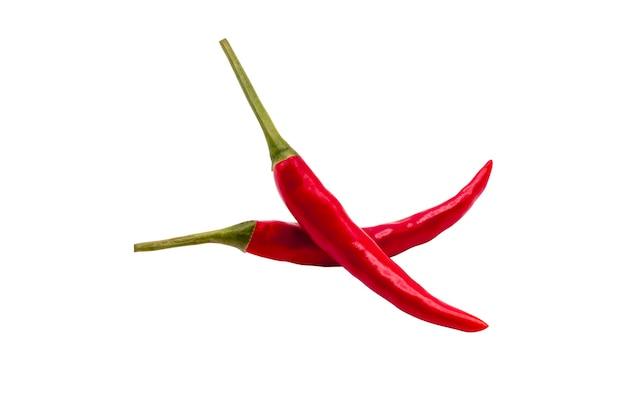 Frischer chili-pfeffer lokalisiert auf weißem hintergrund. nahaufnahme roter chili.