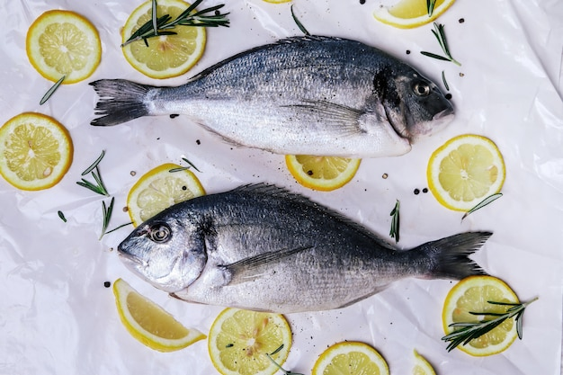 Frischer fisch mit zitrone auf weiß