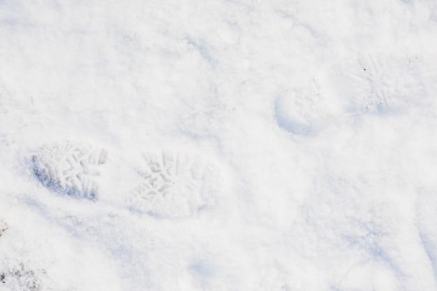 Frischer fußabdruck auf schnee